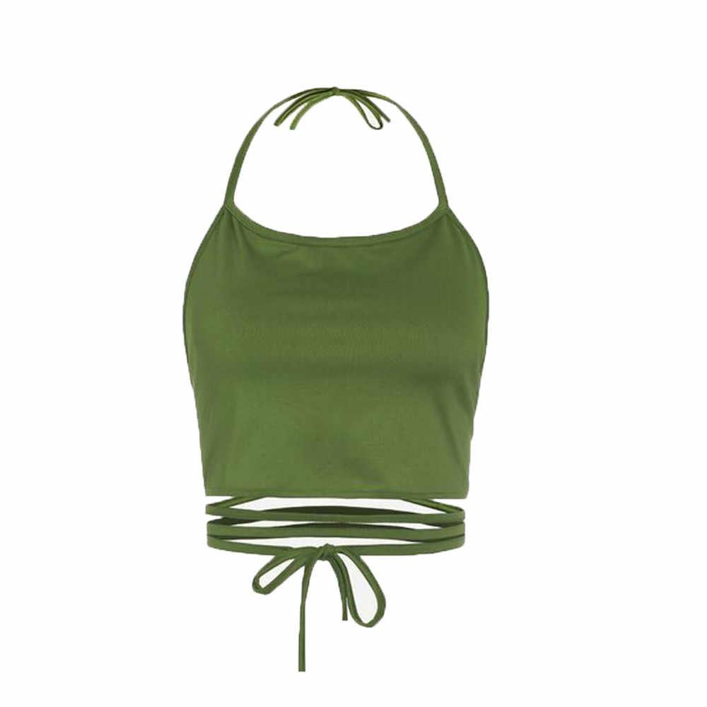 יבול למעלה נשים תחבושת הולו הקצוץ חולצות ללא שרוולים ללא משענת Vest הלטר גופיות haut פאטאל Bustier Boho debardeur femme