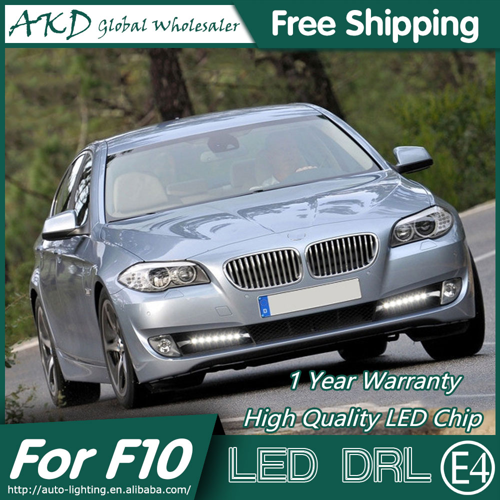 AKD Car Styling LED Fog Lamp for BMW F10 F18 DRL 2010-2012 520i LED Daytime Running Light Fog Light Parking Signal Accessories hot sale abs chromed front behind fog lamp cover 2pcs set car accessories for volkswagen vw tiguan 2010 2011 2012 2013