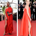 Kate Moss Red Celebrity Dresses 2016 Cannes Festive One Shoulder Side Slit Satin Ankle length Red Carpet Dresses