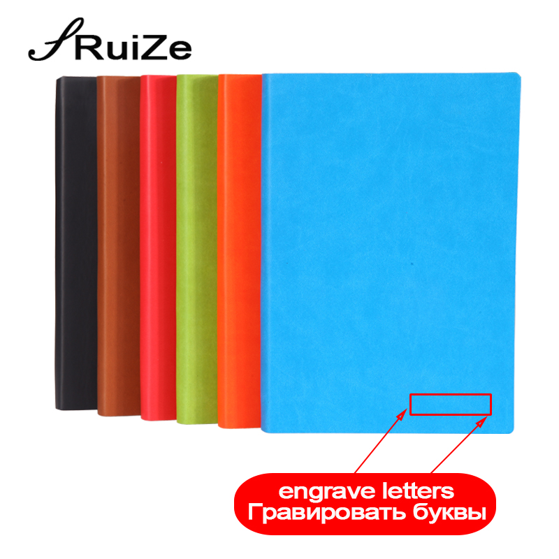 RuiZe rainbow edge cute diary A5 B5 leather journal soft cover 220 pages thick paper notebook can be engraved 2018 new ruize soft cover leather traveler notebook blank kraft paper note book a7 a6 creative travel journal diary school supplies