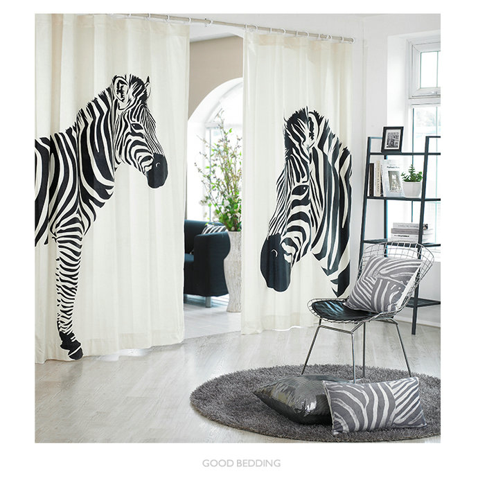 Korea Window Curtains Black Zebra Cortinas Cotton Linen Drapes For Living  Room Bedroom ...