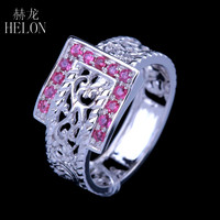 HELON Vintage Antique Jewellery Round Cut 0.36CT 100% Genuine Rubies Solid 10K White Gold Engagement Wedding Art Deco Fine Rings