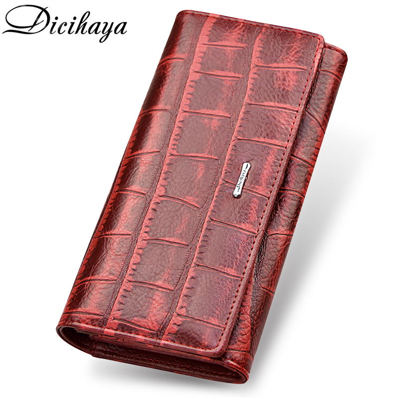 цены DICIHAYA Brand Genuine Leather Long Women Wallet Alligatos Hasp Clasp Purse Clutch Money Phone Bag Card Holder Female Wallets