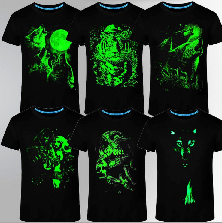 100% Cotton Children/Adult Summer Fluorescent 3D T Shirt Men Tshirt Tops Anime Luminous Kids Short Sleeve T-shirt S-3XL