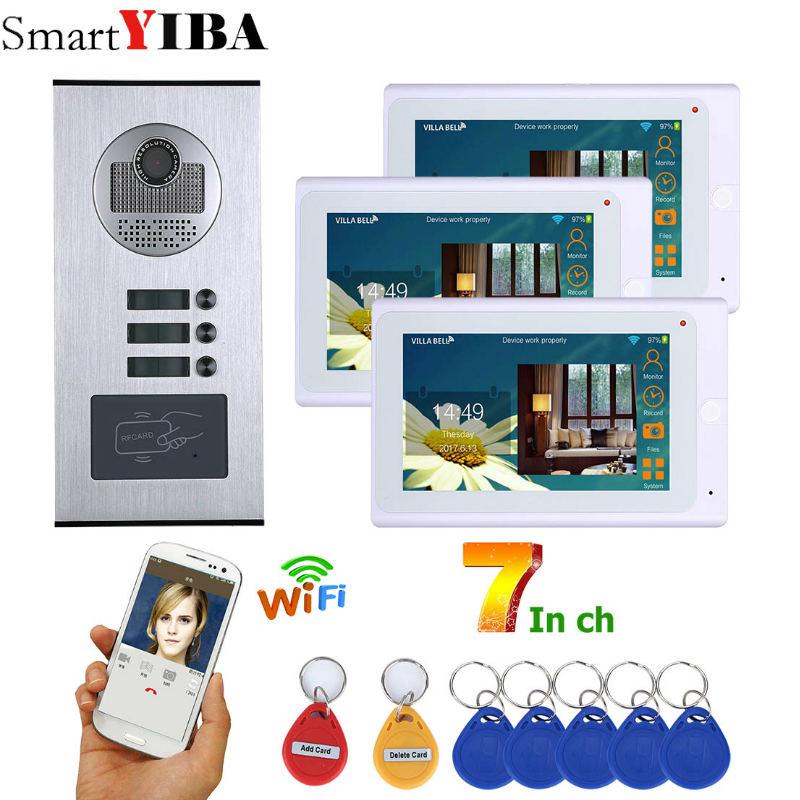 SmartYIBA APP Control 3 Apartment Video Intercom 7 Inch Wifi Wireless Video Door Phone Doorbell Speakephone Intercom RFID System