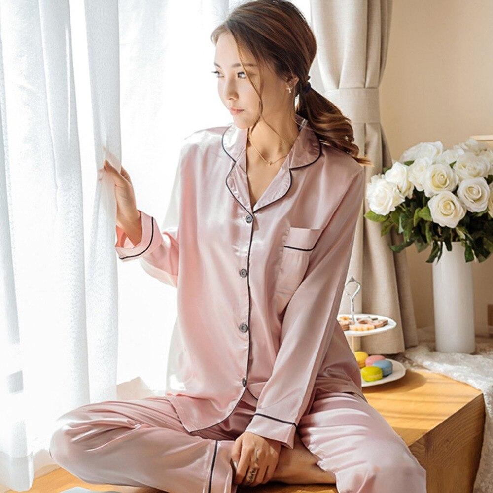 spring Fashion Korean Style Imitation Silk Women   Pajamas     Set   Soft Sleepwear Smooth Long Sleeve Homewear Homie Nightwear
