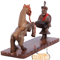 Pakistan woodcarving art antique furnishings Handmade Horse carved rosewood furniture collocation small ornaments
