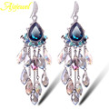 Ajojewel Brand Vintage crystal earrings women's top quality long tassel blue waterdrop drop earrings silver