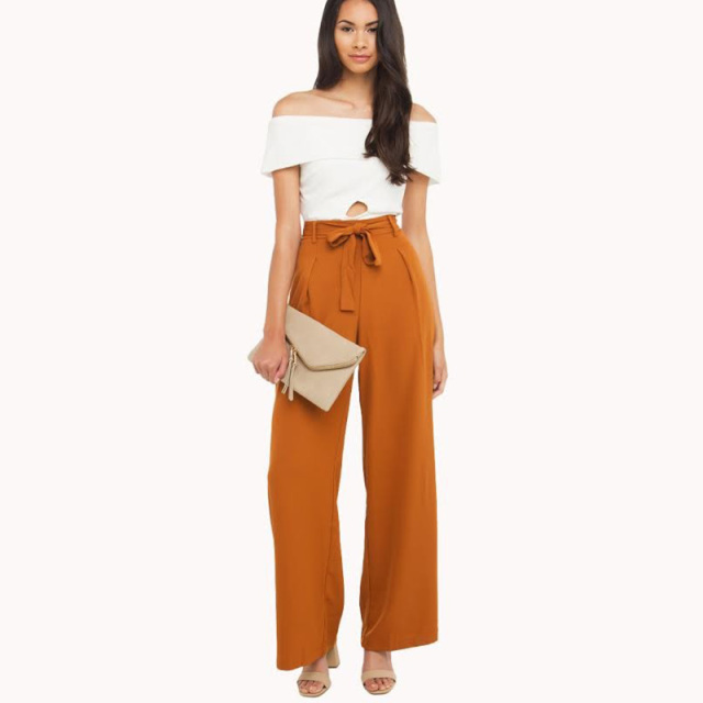 Orange High Waisted Formal Palazzo Pants Women Bow Tie Elegant Wide Leg Pants For Work Ladies ...