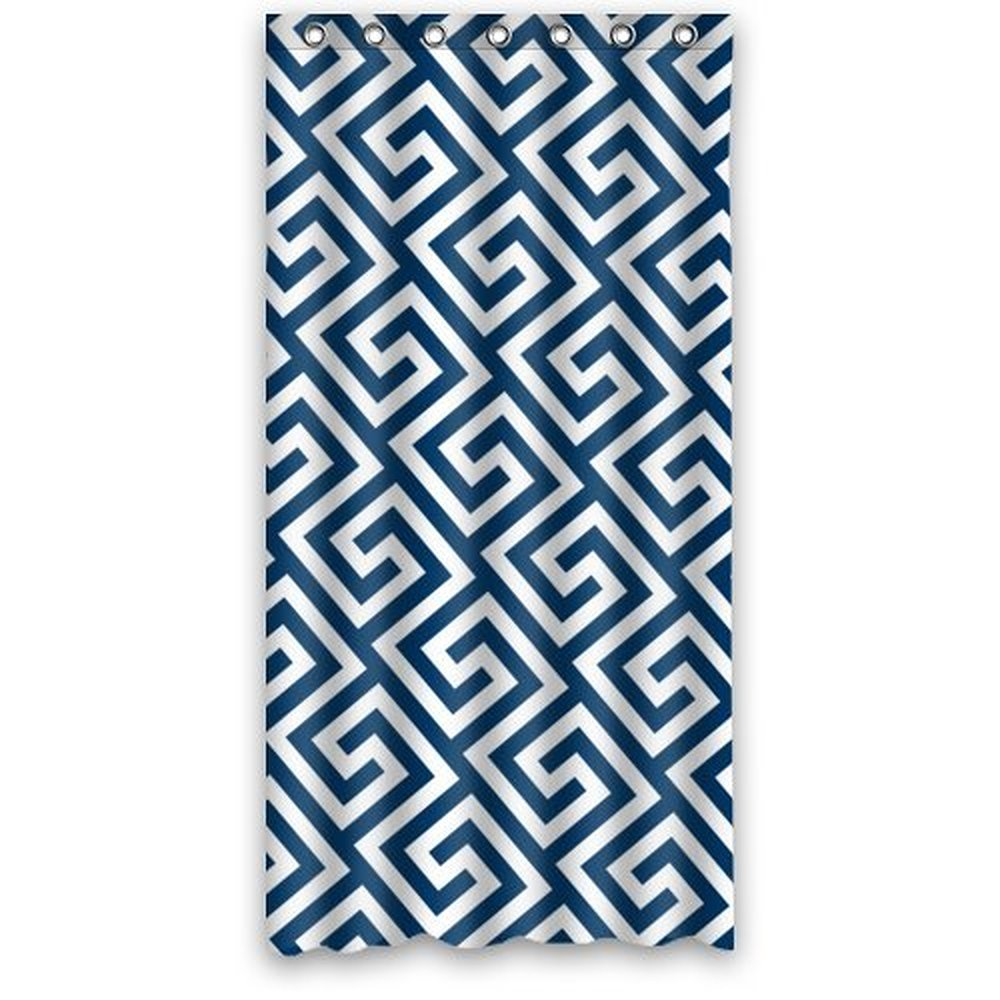 Navy blue patterned curtains - 36wx72h Inch Navy Blue And White Damask Pattern Shower Curtain Bath Shower Curtains Polyester Waterproof
