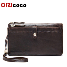 Genuine Leather Wallets Clutch Zipper Long Wallet Casual Men Clutch Bag Leather Men Wallet Male Purse Phone Card Holder