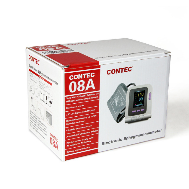 US Shipping CONTEC08A Digital Automatic Blood Pressure Monitor, Adult Cuff+SP02 PC Software 3