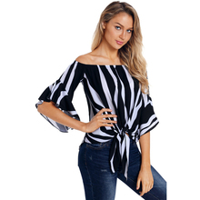 Fashion Women Summer Off Shoulder Striped Shirt Hot Sexy Strapless Knot Tops Loose Casual Butterfly Sleeve Female Blouse