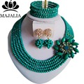 2017 Fashion Nigeria Wedding african beads jewelry set Peacock Green Crystal necklace Bridal Jewelry set Free shipping  AAA009