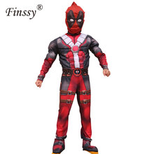 Deadpool Cosplay Costume for Boys Party Dress Deadpool Costume Halloween for Kids Carnival(China)