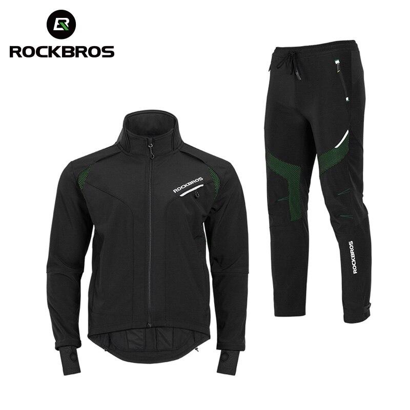 ROCKBROS Велоспорт велосипед куртка с длинными рукавами штаны зимний комплект Термальность флис трикотаж велосипед костюм ветрозащитный спор...