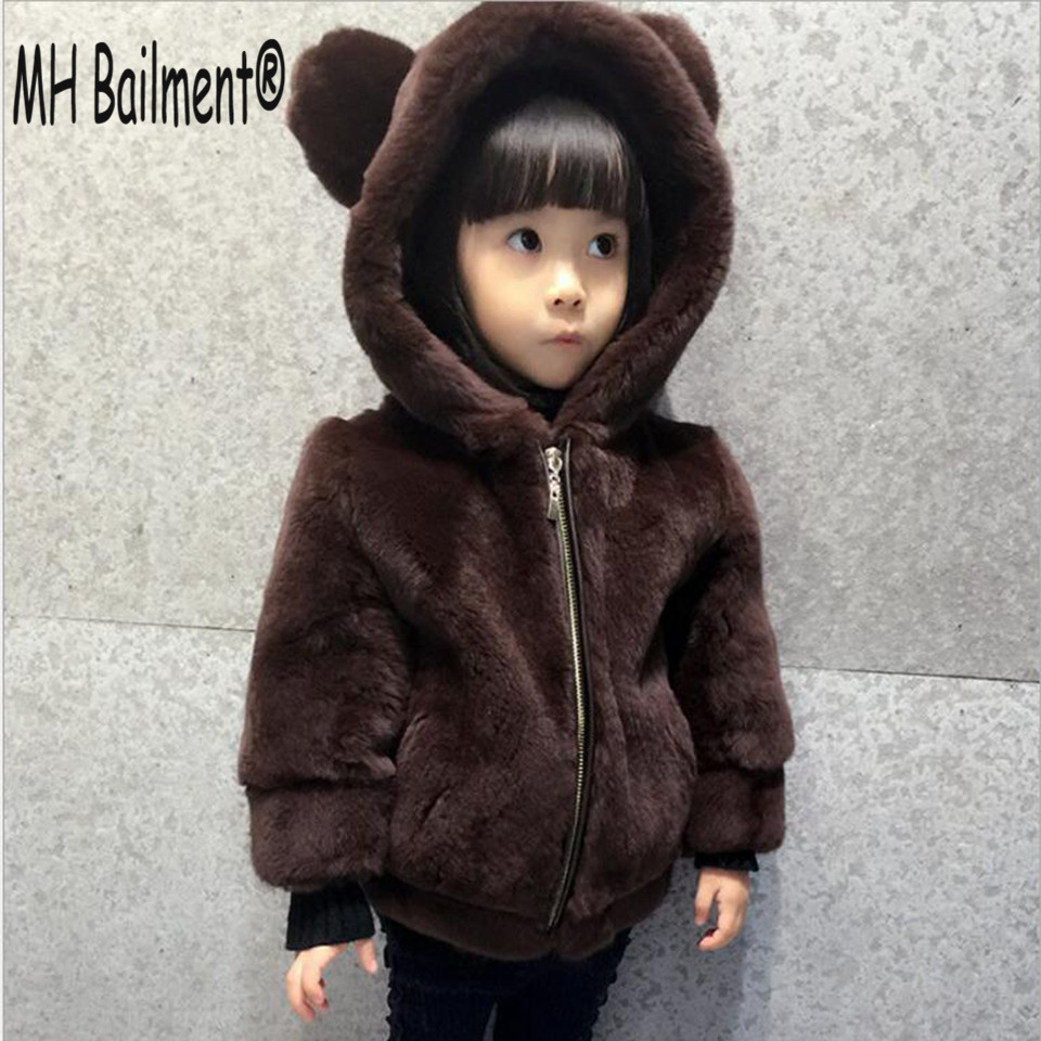 2017 Real Rex Rabbit Fur Coat Winter Baby Clothes Natural Fur Short Jacket Warm Grils Hooded Outerwear Coat Casual Clothing C#26 2017 new winter jacket women long coat real large raccoon fur collar hooded and real rex rabbit fur thick warm liner