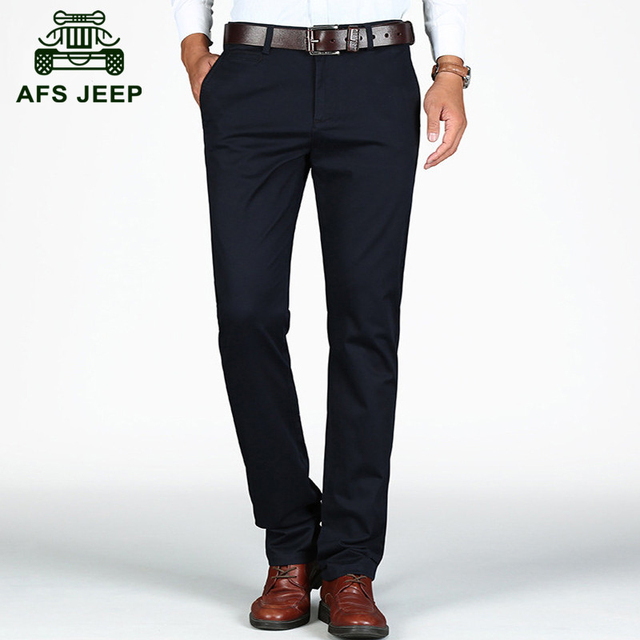 AFS JEEP 2016 Autumn good quality business men's casual brand cotton black straight pants man spring khaki long trousers G09
