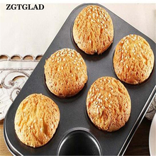 ZGTGLAD 6 Holes/12 Holes Non-stick Egg Tart Cheesecake Mould Pans Round Cake Mold Kitchen DIY Baking Tools New Arrival
