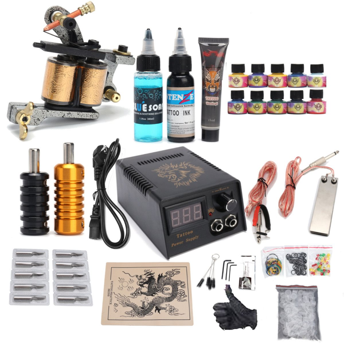 Complete Tattoo Kit Set Tattoo Machine Gun Power Needles With 10Colors Ink Permanent Make Up Body Tattooing Art Supply 2017 p80 panasonic super high cost complete air cutter torches torch head body straigh machine arc starting 12foot