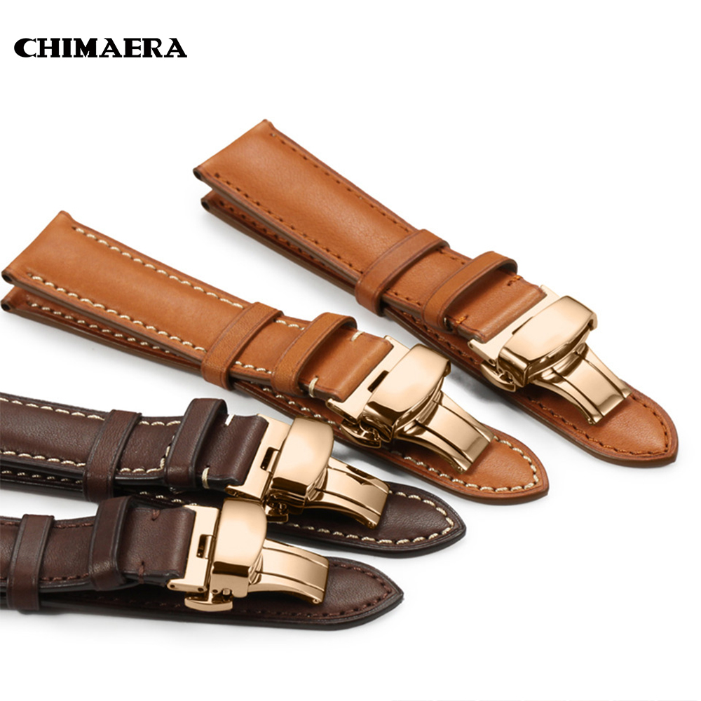 CHIMAERA Watchbands France Leather Strap Black Brown Coffee 16mm To 22mm Watch Band Strap Rose Gold Butterfly Buckle Watch Band