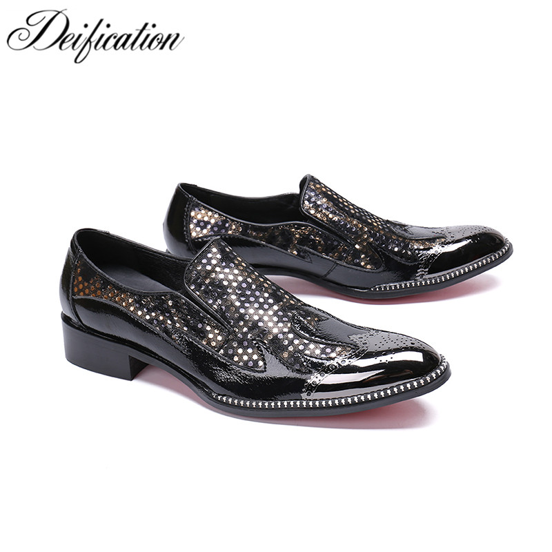 Deification Mens Italian Leather Shoes Chic Sequin Studded Loafers Slip On Prom Shoes Men Casual Shoes Luxury Brand Office Flats