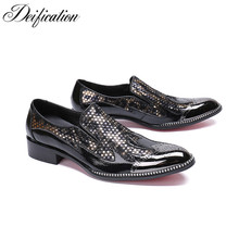 Deification Mens Italian Leather Shoes Chic Sequin Studded Loafers Slip on Prom Shoes Men Casual Shoes Luxury Brand Office Flats fashion rhinestone crystal rivets party shoes men luxury brand design casual shoes mens loafers crystal italian men shoes flats