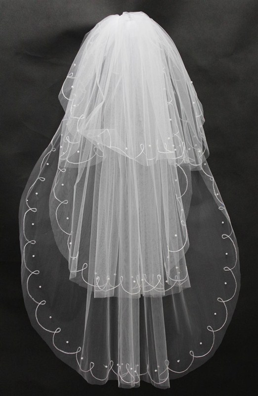 Free Shipping 2019 Wedding Veils Long Beaded Real Image Tulle Bridal Veil With Comb