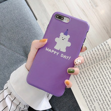Bear women silicone for iPhone case soft cartoon purple background pattern cover 6 s 7 8 Plus X XS MAX XR cute fundas