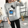 2016 autumn cartoon print Mickey Mouse long sleeve tshirt women cotton t-shirt women tops casual funny t shirt tee shirt femme