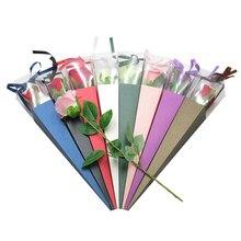 Один цветок розовая коробка ПВХ треугольная коробка букет упаковочная бумага пластиковые бумажные пакеты коробки, футляры для цветов подарочная упаковка