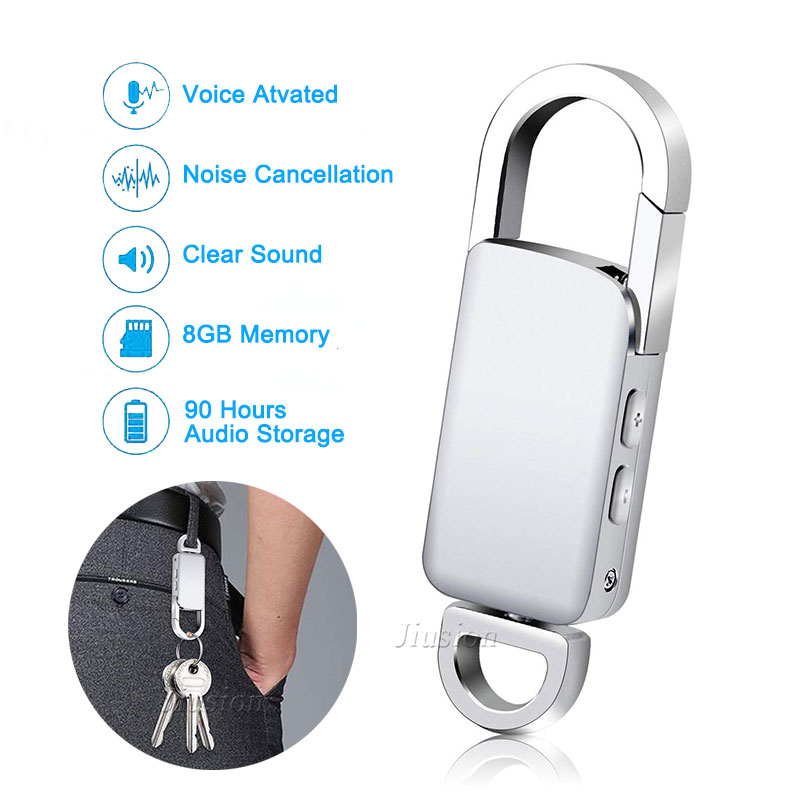 Keychain 8GB Digital Voice Recorder Voice Activated Recording USB Flash Drive Silver Audio Sound Dictaphone Portable MP3 Player