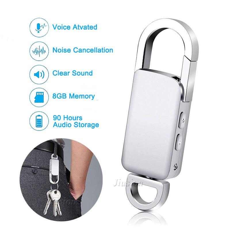 Gravador de Voz Ativada por Voz Keychain Digital Gravação Usb Flash Drive Prata Áudio Som Ditafone Portátil Mp3 Player 8 gb