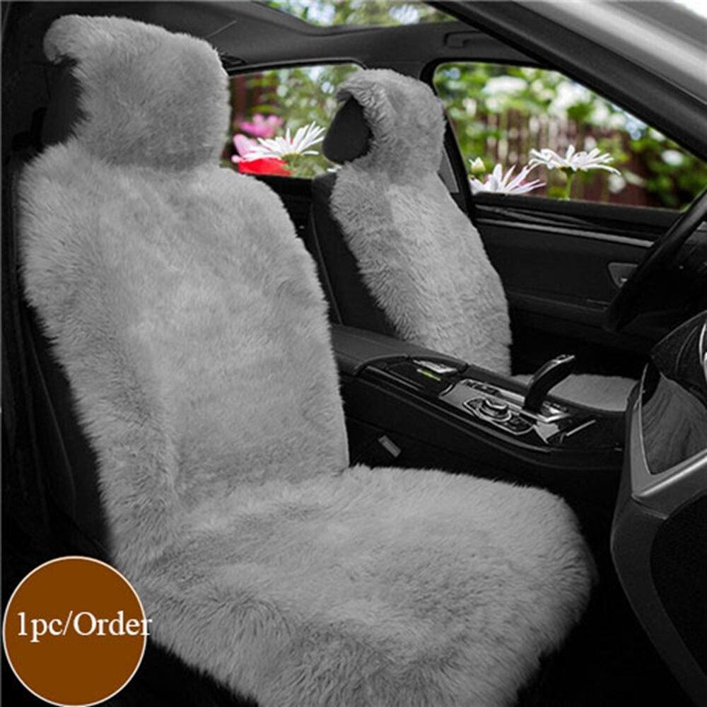 Siège de voiture couvre taille universelle pour housse de siège accessoires automobiles Laine Nature Fourrure De Mouton De Voiture Sièges Avant Couvre Universa