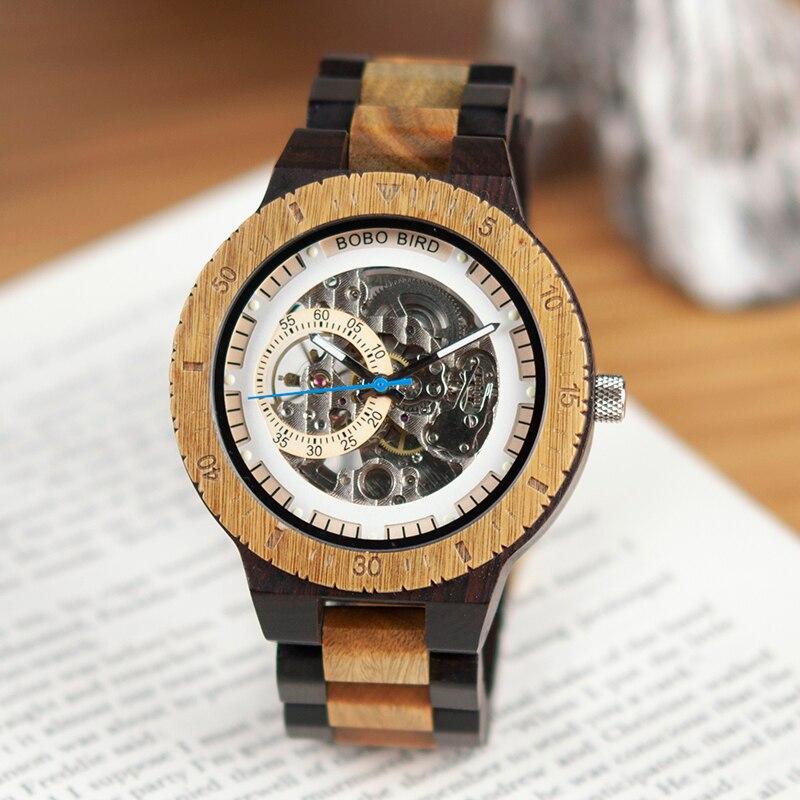 BOBO oiseau en bois montres hommes automatique mécanique montre-bracelet étanche mâle forsining dans cadeau boîte en bois masculino montre - 2