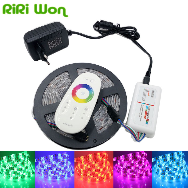 RiRi won SMD5050 RGB LED Strip Waterproof Led Light DC 12V Tape Flexible Strip 5M 10M 15M 20M +Touch RGB Controller+Adapter
