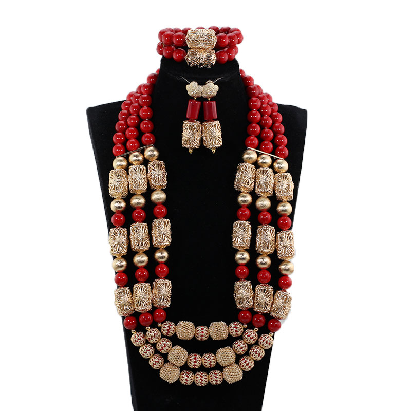 Gorgeous Original Purple Coral African Beads Jewelry Set Nigerian Brides Purple Wedding Jewelry Neckpiece Set CNR041