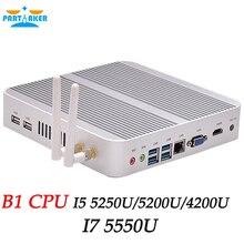 Безвентиляторный Barebone i5 Мини-ПК Win10 NUC компьютер Core i5 4200U i5 5250U i5 5200U 4 К HTPC ТВ коробка DHL Бесплатная доставка