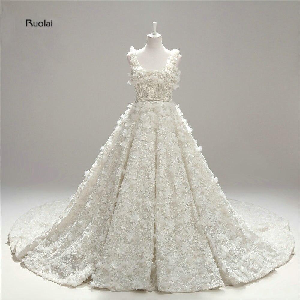 2017 New Charming Elegant Flower Bridal Dresses Custom Made Ivory Empire Organza A Line Floor Length with Train Wedding Dresses