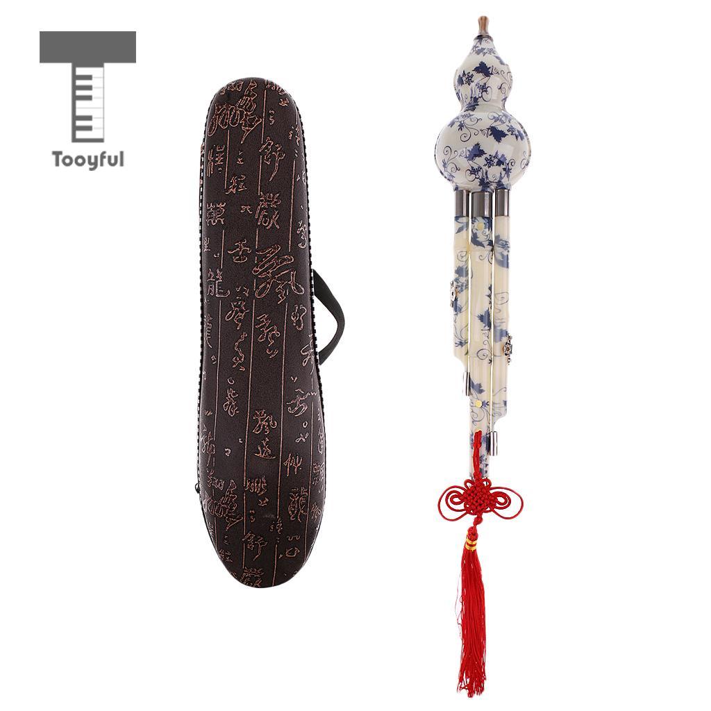 Tooyful Chinese Cucurbit Flute Hulusi Gourd Flauta Hulusi C/Bb Key Porcelain Calabash Flute Folk Musical Instrument with Case