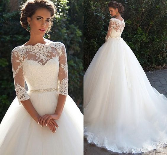 Vintage Lace Three Quarter Sleeves Ball Gown Wedding Dresses 2019 Sheer Neckline White Tulle Bridal Gowns With Covered Buttons in Wedding Dresses from Weddings Events