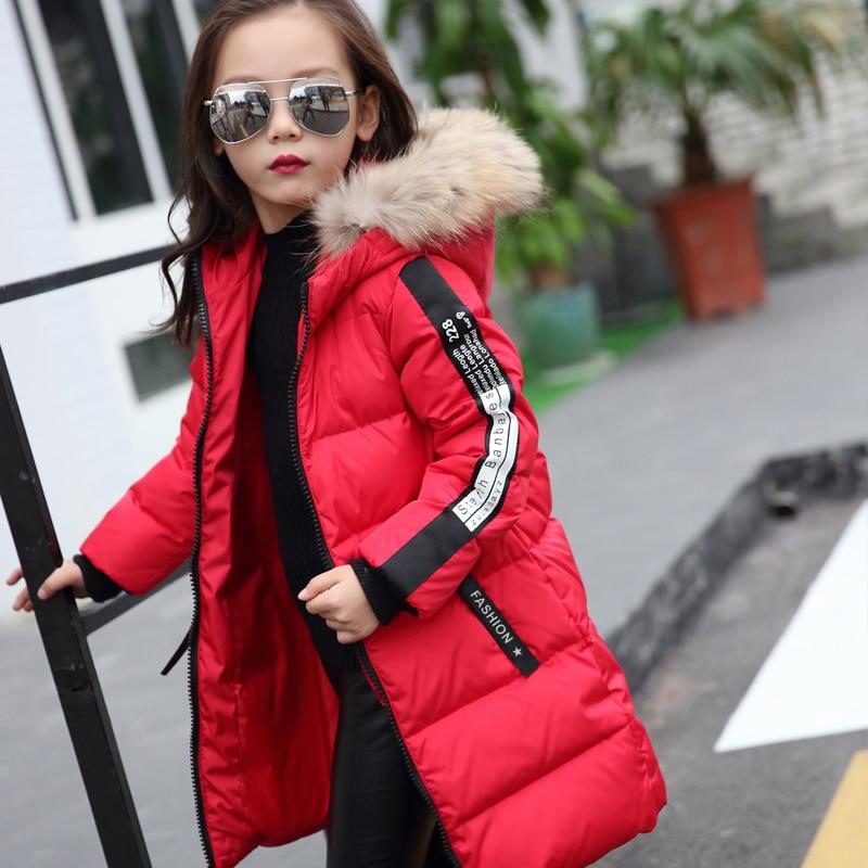 2018 Fur Hood Jacket for Girls Children Snow Wear Parka Thick Cotton Padded Winter Jacket for Children Christma Winter Coat