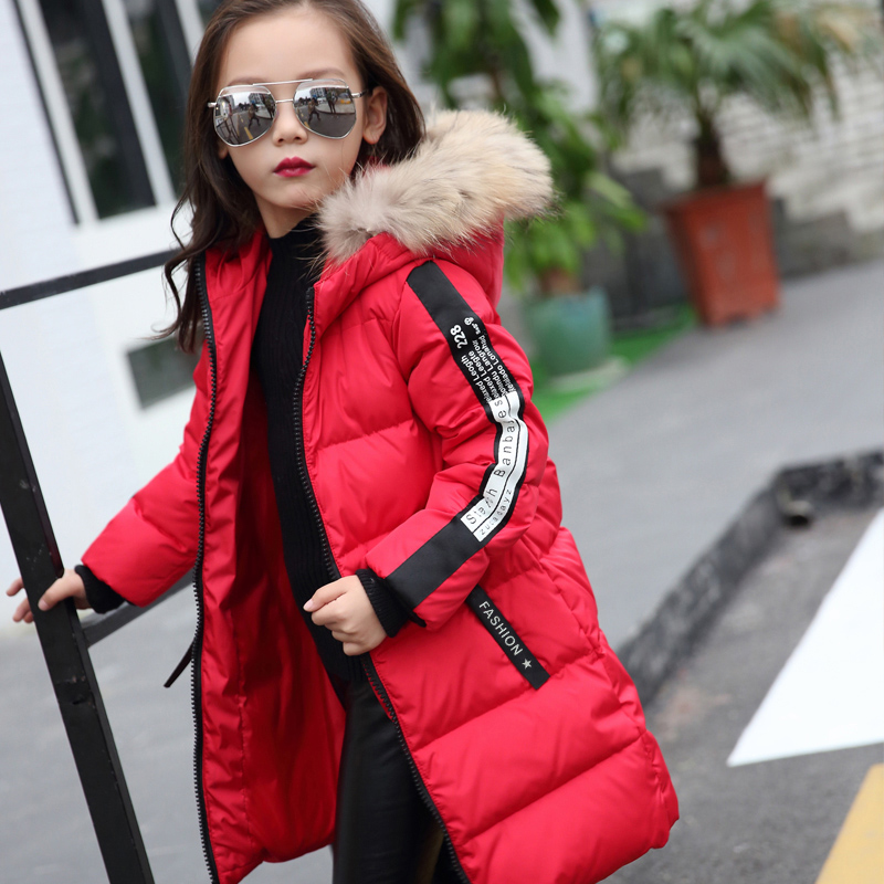 2018 Fur Hood Jacket for Girls Children Snow Wear Parka Thick Cotton Padded Winter Jacket for