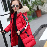 2018 Fur Hood Jacket for Girls Children Snow Wear Parka Thick Cotton Padded Winter Jacket for Children Christma Winter Coat