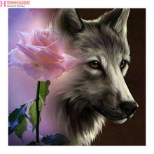 Diy diamond mosaic paint on canvas 3d diamond painting cross stitch kit diamond embroidery pink rose wolf picture Craft gift(China)