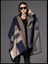 2016 Autumn Women Long Cape Fashion Knitted Plaids Check Woman Coat Trench Cardigan Women Shawl Cloak Plus Size Female Clothing