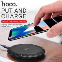 Hoco carregador sem fio para apple iphone samsung xiaomi telefones almofada de carregamento portátil desktop adaptador sem fio esteira base carregamento
