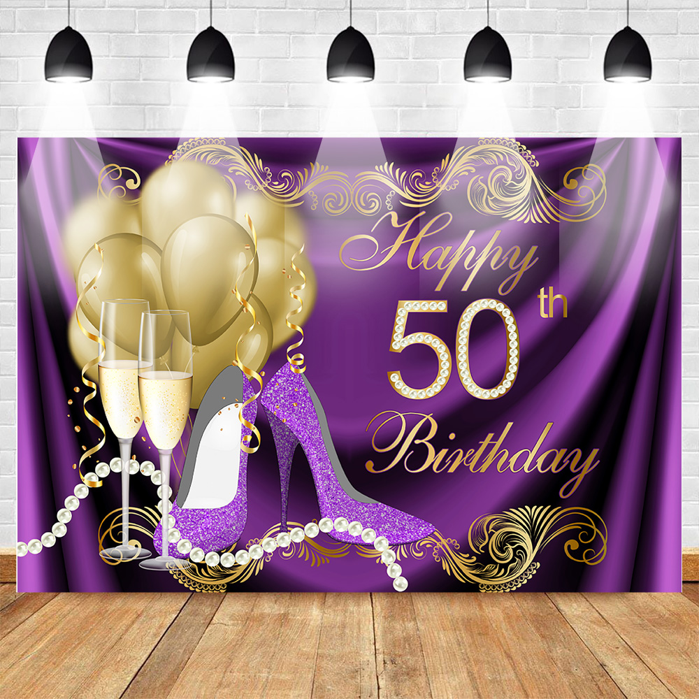 <font><b>Happy</b></font> <font><b>50th</b></font> <font><b>Birthday</b></font> <font><b>Backdrop</b></font> Gold Balloons Purple Heels Photography Background Glitter Pearl Champagne <font><b>50th</b></font> <font><b>Birthday</b></font> <font><b>Backdrops</b></font> image