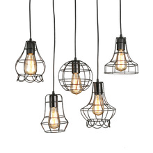 Modern black cage pendant lights iron minimalist retro Scandinavian loft pyramid lamp metal Hanging Lamp E27 Indoor