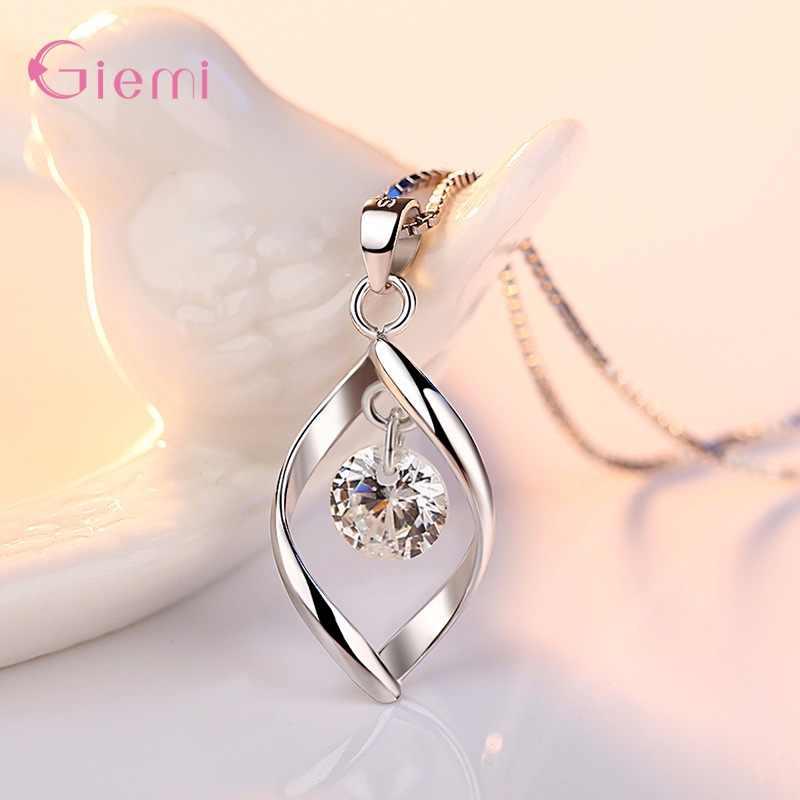 New Trendy Jewelry Set 925 Sterling Silver Cubic Zirconia Pearl Handmade Rotation of Love Women Drop Earrings Pendant Necklace